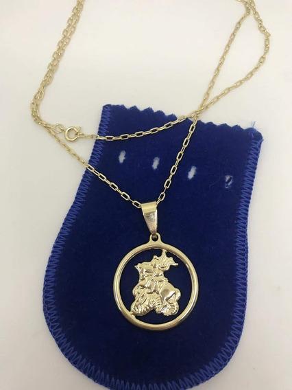 Corrente 60cm Com Medalha São Jorge 3cm Banhada Ouro 18kts