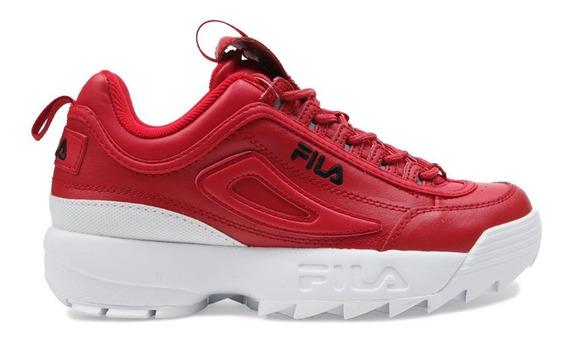 Tenis Fila Disruptor 2 Premium Red Casuales Dama Moda