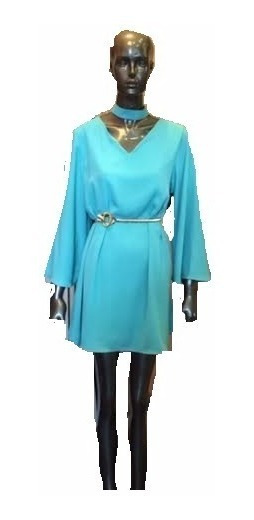 Vestido Suelto Gasa Forrado Con Mangas Art052