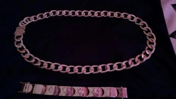 Cordão E Bracelete De Prata 950, Tem Em Média 70cm