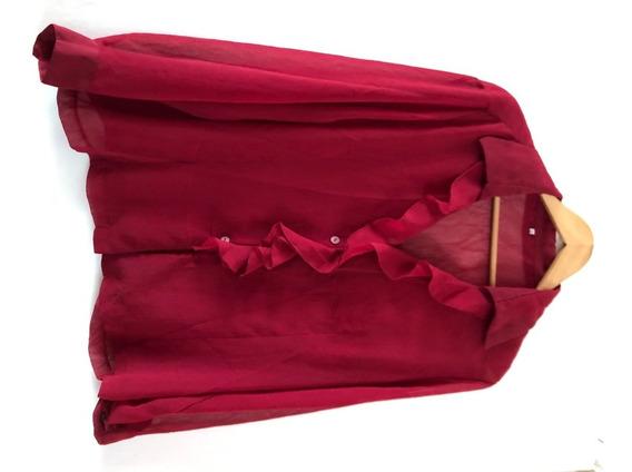 Blusa Camisa Bordo Con Transparencias Talle L
