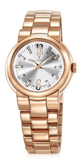 Relógio Jean Vernier Caixa Pulseira Aço 10atm Vidro Cristal