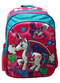 Maleta Morral Grande Unicornio Pony Lentejuela Espalda