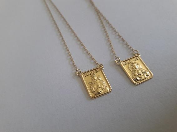 Escapulario Corrente Em Ouro 18k Católicos 60cm Com Fecho