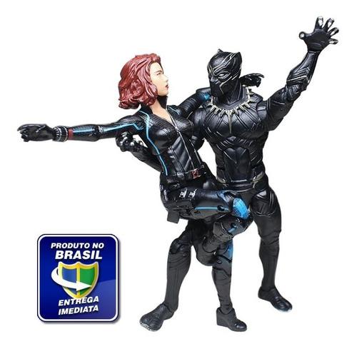Imagem 1 de 10 de Boneco Pantera Negra + Viúva Negra Marvel Legends + Brinde!