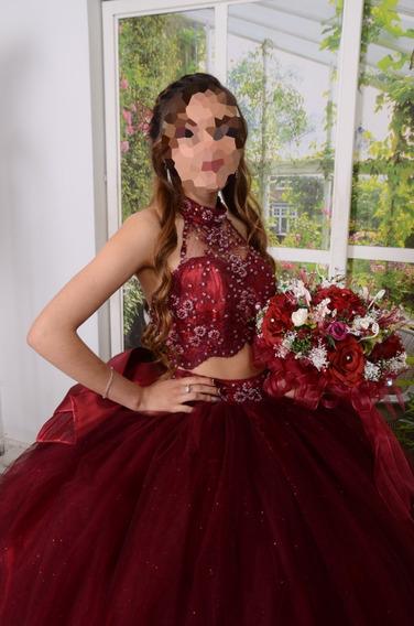 Vestido Xv Años Modelo Abril Colo Vino Y Blosh 2 Piezas