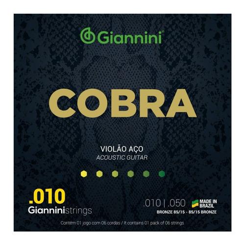 Imagem 1 de 4 de Encordoamento Giannini Cobra 010 P/ Violão Aço