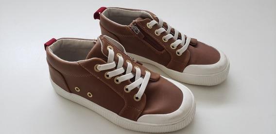Sapato Infantil Marrom Em Couro Zara - Tamanho 31
