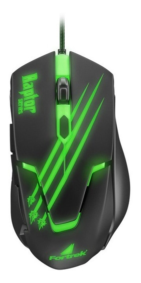 Mouse Gamer Usb Raptor Om-801 Preto/verde Fortrek.