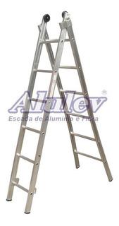 Escada Extensivel Dupla 8 Degraus Aluminio 2,70/4,50