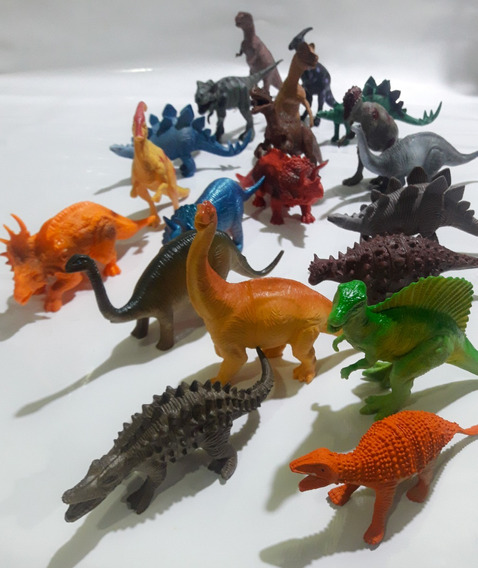 Kit 20 Dinossauros Borracha Com Tamanhos Entre 12 E 18 Cm !