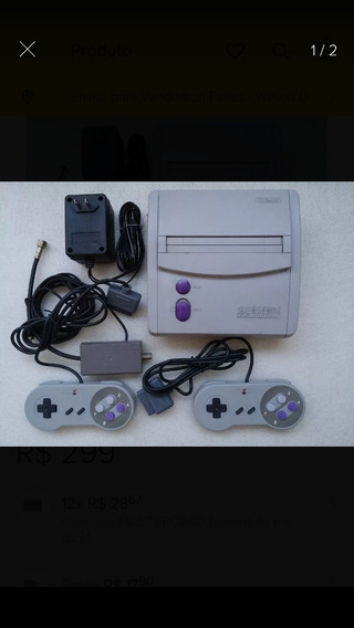Super Nintendo Baby Console Com Cabos E 2 Controles Novos