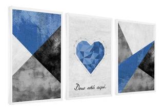 Quadro Decorativo Love Amor Abstrato Azul Deus Está Aqui