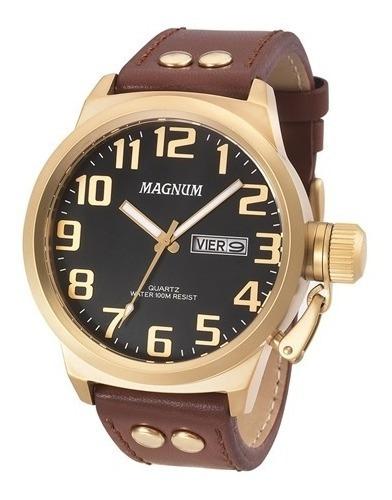 Relógio Magnum Ma32952p Masculino Dourado/marrom