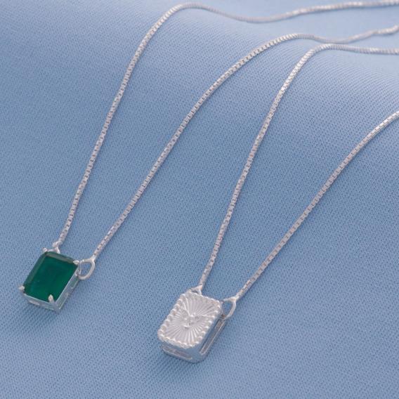 Escapulario Espirito Santo Zirconea Verde Prata 925 5148