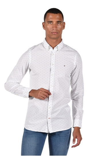 Camisa Slim Fit Tommy Hilfiger Blanca Mw0mw11022-100 Hombre