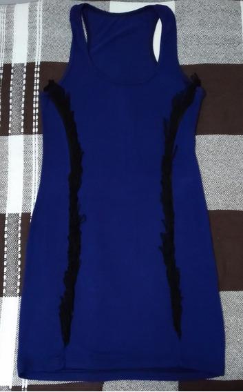Vestido De Algodón Y Lycra Azul Con Flecos, Talle S