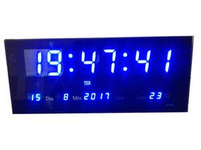 Relógio De Parede Led Painel Digital Bivolt Alarme Azul 36cm
