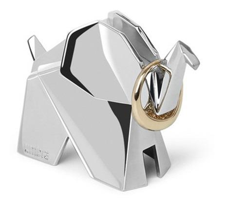 Porta-aneis Umbra Elefante Origami Cromado