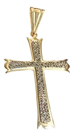 Pingente Crucifixo 4,5g - Ouro Amarelo / Branco - 18k - 750