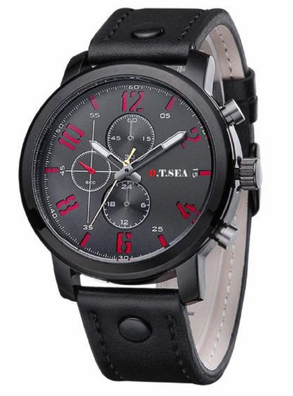 Relógio Masculino Militar Pulseira Couro Esportivo + Caixa