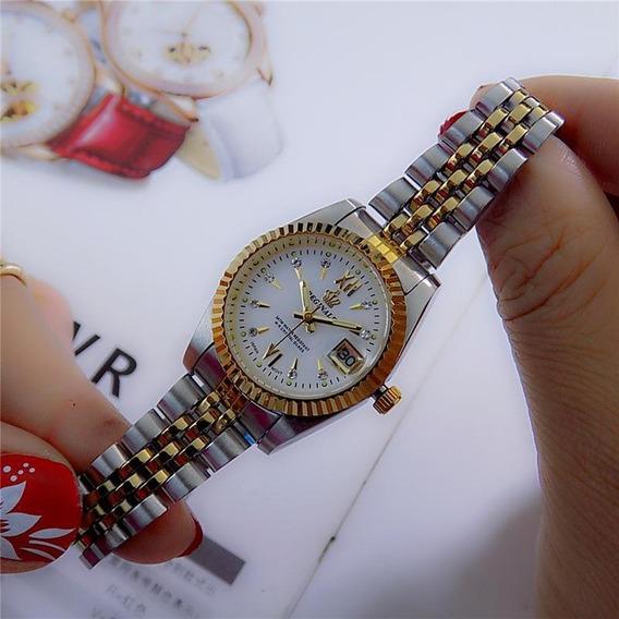 Relógio De Aço Pulseira De Cor De Ouro