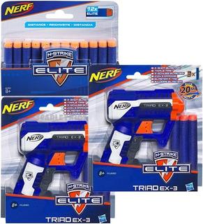 Nerf Elite 2 Unidades Triad Ex3 + Pack 12 Dardos Extra Combo
