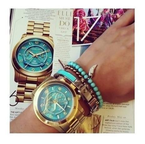 Relógio Michael Kors Mk8315 Dourado Turquesa Original