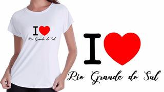 Camisa Camiseta Baby Look Branca Turismo Rio Grande Do Sul