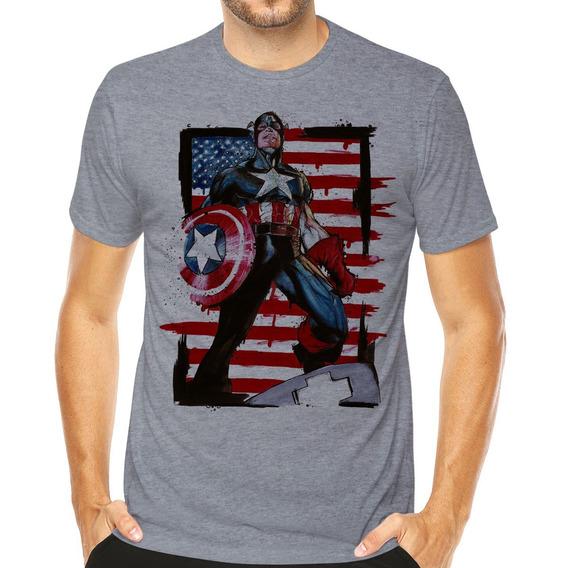 Camiseta Marvel Avengers Capitão América Desenho Hq Geek