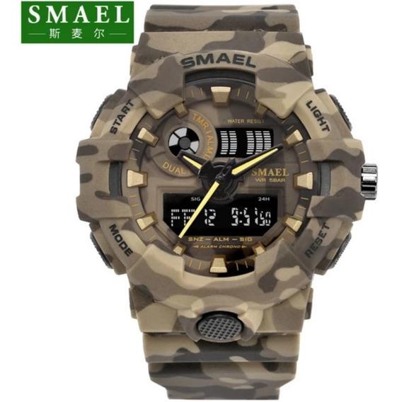 Relógio Smael 8001 Shock Camuflado A Prova D