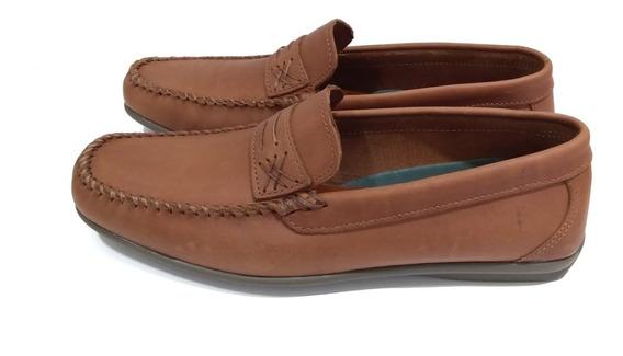 Zapato Hombre Mocasin De Cuero Cocidos Base Goma