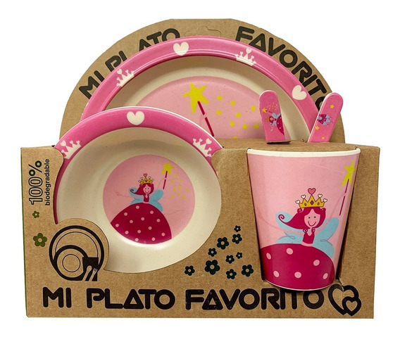 Set Plato Bowl Cubiertos Vaso Bebe Fibra Bambú Ecológico