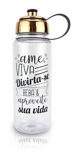 Squeeze Garrafa Água Academia Trabalho Com Frases Top 750ml
