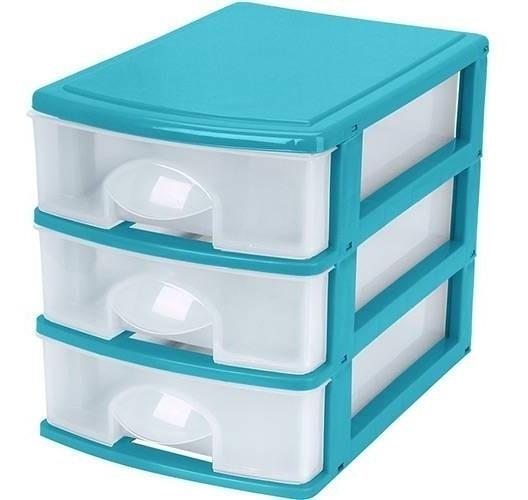 Gaveteiro Plástico Caixa Organizador Multiuso Com 3 Gavetas