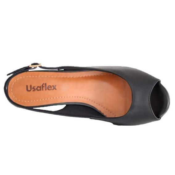 Sandália Anabela Confortável Usaflex Preto 5205