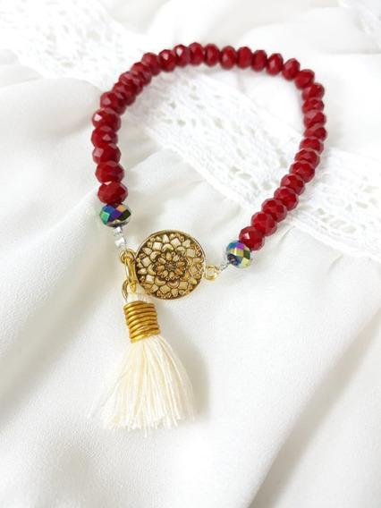 Pulsera Artesanal Roja Con Mandala
