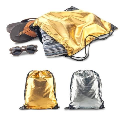 Tula Sporty Bag Metallic Poliéster Metalizado Con Cordón