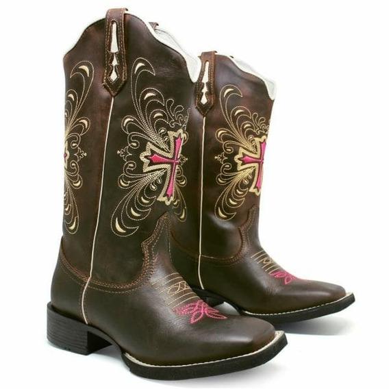 Bota Feminina Texana Country Bico Quadrado Cano Alto Couro
