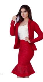 Conjunto Blazer +saia Midi Lapis Moda Feminina Evangelica