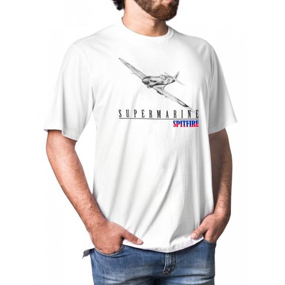 Camiseta Avião Supermarine Spitfire Branco Tam M Aero Tshirt