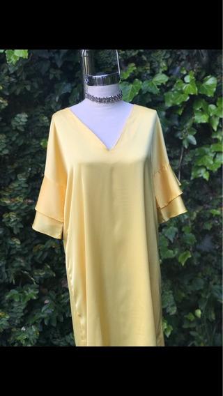 Vestido Raso De Seda Amarillo