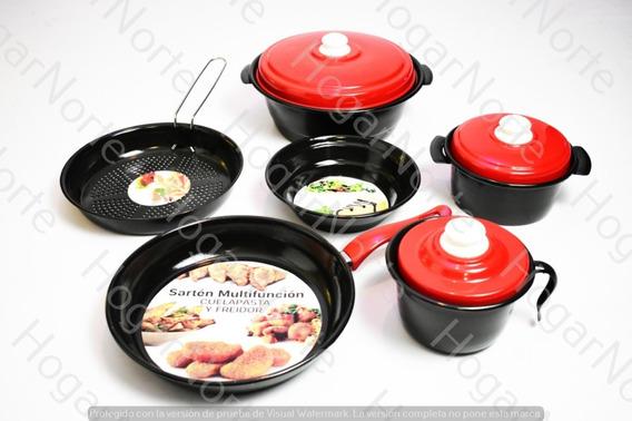 Set Juego Bateria De Cocina 9 Piezas Olla Sarten Vitrificado