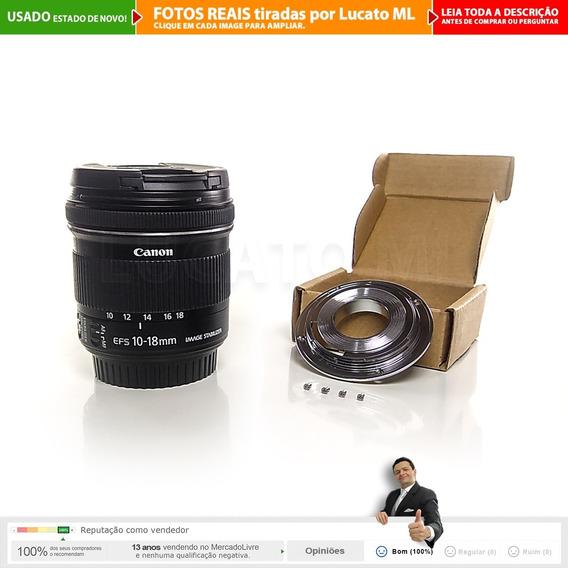 Lente Canon Efs 10-18mm Is Stm C/ Caixa + Baioneta Fullframe