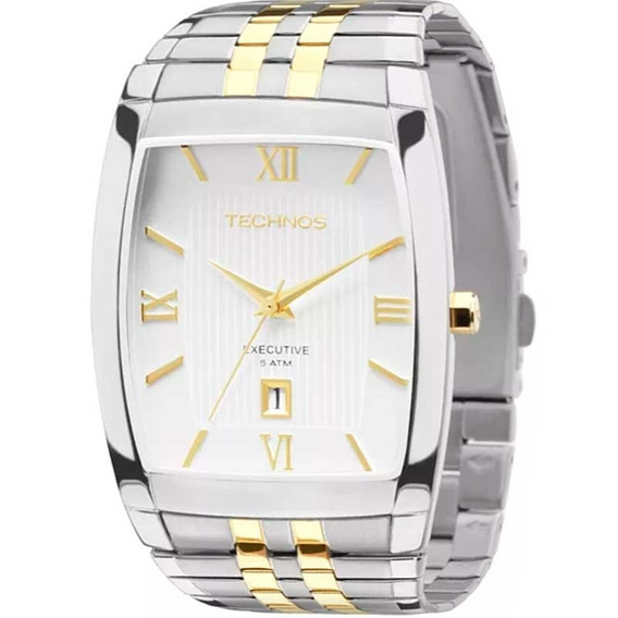 Relógio Technos Masculino Prata Dourado Classic 1n12mq/5b