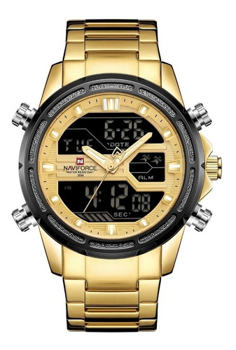 Naviforce Luxo Relógio Militar Masculino Completo De Aço