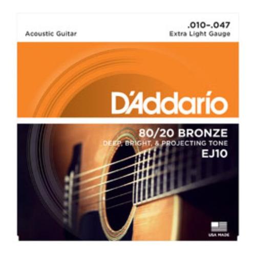 Imagen 1 de 4 de Cuerdas Guitarra Electroacustica Daddario Ej10 Bronze 80/20