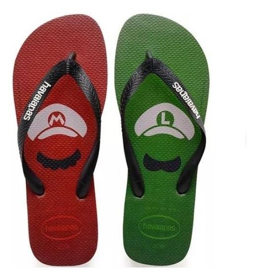 Sandália Havaianas Super Mario Bros- Luigi Original Promoção