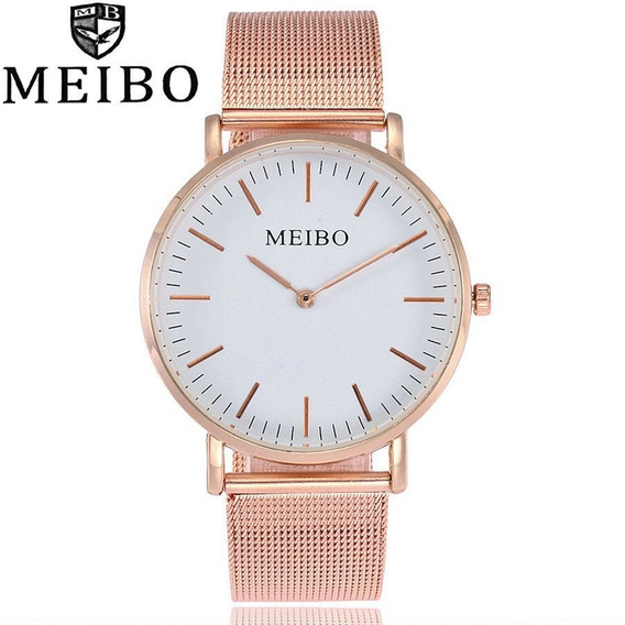 Relógio Feminino Aço Inoxidável Cinta De Malha Rosa Meibo