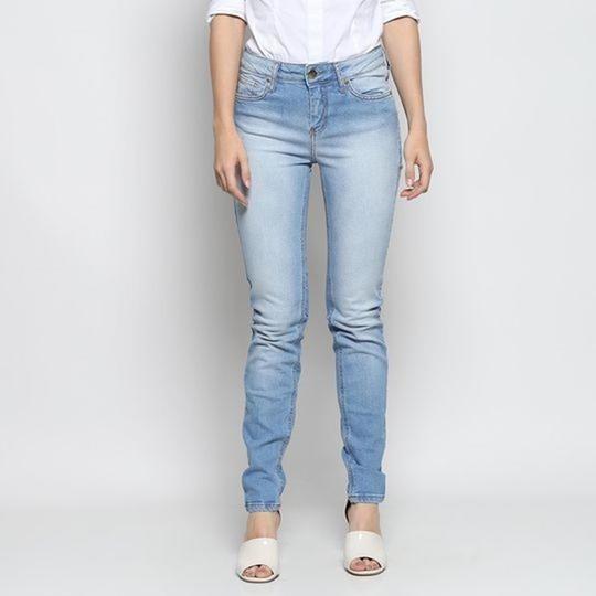 Jeans Skinny Com Bolsos. - Azul Claro. - Sommer - Promoção!!